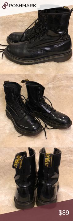 Dr. Martens 1460 Black Patent Black patent leather Doc Marten 1460 boots. Have been loved but definitely have a lot of life left in them. Good overall condition. Dr. Martens Shoes Ankle Boots & Booties