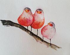 ORIGINAL aves acuarela pintura rodillo del arco iris de