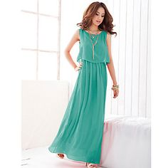 Fashionable and Elegant Style Scoop Neck Sleeveless Solid Color Bohemian Chiffon Maxi Dress Dress Vest, Dress Outfits, Casual Dresses, Fashion Dresses, Maxi Dresses, Boho Dress, Sun Dresses, Dress Beach, Women's Fashion