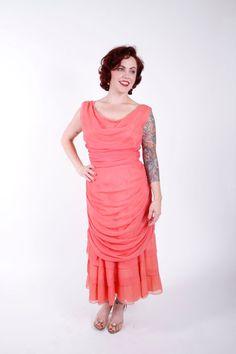 b91c597e3187 1950s Vintage Dress...Coral Chiffon Bombshell 50s Cocktail Dress Grecian  Drape Mermaid Hem