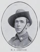 ARMITAGE,   Herbert   John.   Private,   No.     50,243,   42nd   and   15th   Battalions.   Son   of   Edward   Fitzgerald   and   Bridget   Armitage,   of   Kent   Street,   Maryborough.   Born   at   Ma yborough.   Educated   at   the   Albert   School,   Maryborough.