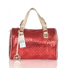 Michael Kors Logo Knitted Large Red Satchels