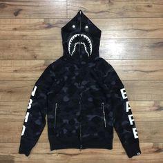 Bape NBHD Camo Shark Full Zip Hoodie (Black)