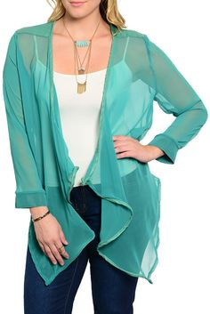 DHStyles Women's Green Plus Size Trendy Open Front Flowy Sheer Chiffon Cardigan #sexytops #clubclothes #sexydresses #fashionablesexydress #sexyshirts #sexyclothes #cocktaildresses #clubwear #cheapsexydresses #clubdresses #cheaptops #partytops #partydress #haltertops #cocktaildresses #partydresses #minidress #nightclubclothes #hotfashion #juniorsclothing #cocktaildress #glamclothing #sexytop #womensclothes #clubbingclothes #juniorsclothes #juniorclothes #trendyclothing #minidresses…