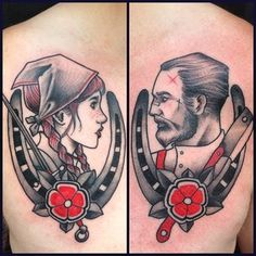 This rugged working class couple. | 43 Adorable Couples' Tattoos That Will Stand The Test Of Time