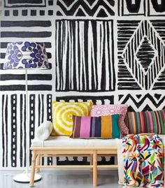Can't quite do the full pattern on the walls, but love the idea and the pillows.