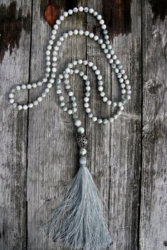 Tree Agate Long Necklace with Tassel by NORDeastHOME on Etsy