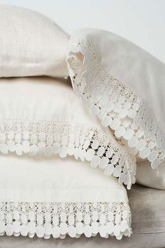 Crisp white linen pillows with lace trim detail.from Toast spring catalogue Linens And Lace, White Linens, White Pillows, White Sheets, Lace Pillows, Decor Pillows, Shades Of White, Lace Patterns, Linen Bedding