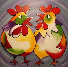 Kip Rooster Painting, Rooster Art, Diy Painting, Painting & Drawing, Chicken Painting, Chicken Art, Crafts With Pictures, Bird Pictures, Animal Drawings
