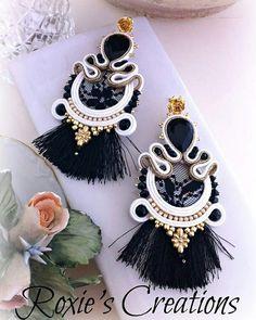Shibori, Soutache Earrings, Tassel Earrings, Handmade Wire Jewelry, Earrings Handmade, Boho Chic, Crystal Beads, Crystals, Point Lace