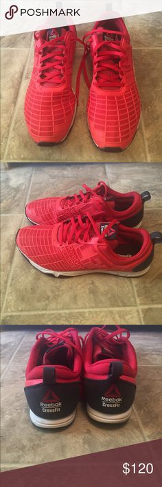 Reebok Crossfit Red Gym Sneaker Tennis Shoe These crossfit shoes are great! Like new condition, only worn twice! Super comfortable, but a tad bit too big on me. They have nice detail and are of course excellent quality! Thy are a red and navy shoe Reebok Shoes Athletic Shoes