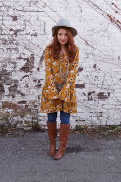Mellow Yellow // Target bell sleeve dress with boots and jeans