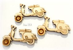 Set of 3 Wooden Motorbike 2 Embellishments Set of 3 by StudioIdea Motorbikes, Gift Tags, I Shop, Craft Supplies, Embellishments, Crafts, Etsy, Ornaments, Manualidades