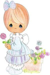 Little Girl and Flowers Precious Moments Coloring Pages, Precious Moments Quotes, Precious Moments Figurines, Days For Girls, Holly Hobbie, Tole Painting, Digi Stamps, Coloring Book Pages, Felt Christmas
