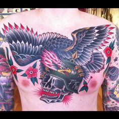 Eagle perched on a skull Sick Tattoo, Eagle Tattoos, American Tattoos, Kustom Kulture, American Traditional, Military History, Traditional Tattoos, Ink, Tattoo Ideas