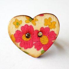 Pink Flower Wooden Heart Ring