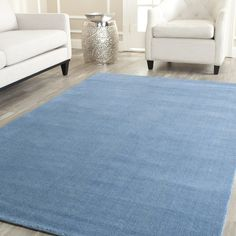 Handmade Safavieh 'Himalayan Solo' Blue Wool Rug | Overstock.com