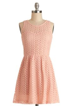 Between Friends Dress - Sheer, Woven, Short, Pink, Solid, Daytime Party, A-line, Sleeveless, Good, Scoop, Lace, Pastel