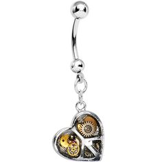 Peace and Love Steampunk Heart Dangle Belly Ring #piercing, #bellyring, #bodycandy