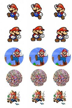 Bottle Cap: Super Mario Bros - 3 cm. Toppers: 6 cm.