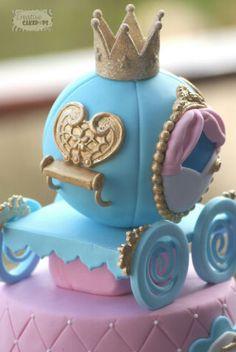 2 tier Cinderella themed cake with a princess carriage on top Cinderella Birthday, Cinderella Princess, Cinderella Cakes, Carriage Cake, Carousel Cake, Princess Carriage, Ballerina Cakes, Wedding Cake Inspiration, Birthday Cake Girls