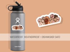 Excited to share this item from my #etsy shop: Feminist Fists Water Bottle Sticker Girl Power Waterproof Bumper Flask Decal Vinyl Stickers For Waterbottles Laptop
