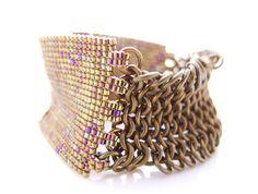 Patina Brass Cuff Gold Beaded Cuff Statement by JeannieRichard, $280.00