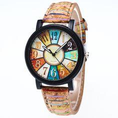 Watches Women Elegant Harajuku Graffiti Pattern Leather Band Analog Quartz Vogue Wrist Watches Fashion Quartz Watch #Affiliate