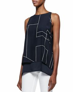 Lyalka Double-Georgette Top, Uniform  by Theory at Bergdorf Goodman.