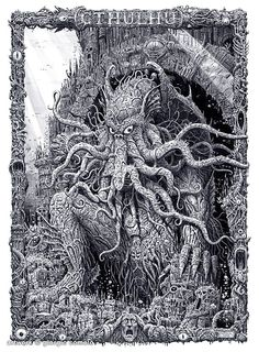 "Cthulhu is a fictional cosmic entity created by horror author H. Lovecraft in The first appearance of the entity was in the short story ""The Call of Cthulhu"" published in Weird Tales in Hp Lovecraft, Lovecraft Cthulhu, Cthulhu Art, Arte Horror, Horror Art, Necronomicon Lovecraft, Yog Sothoth, Lovecraftian Horror, Call Of Cthulhu"