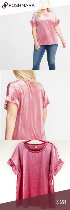 6ef1233fa NWT Old Navy Pink Sparkle Velvet Ruffle Sleeve Top Brand new with tags!  Stored in