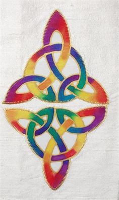 : Ivory stole with rainbow silk painted ornate mirror image celtic triquetras Celtic Patterns, Celtic Designs, Celtic Quilt, Ornate Mirror, Christian Crafts, Church Banners, Triquetra, Celtic Art, Mirror Image