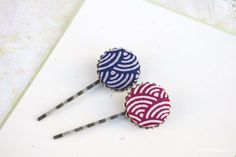 Wave Japan Fabric Ocean Hokusai Great wave Kanawaga  Hair pins set x2