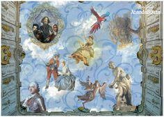 Trabalho retratando em pintura afresco, o resumo do movimento Rococó..