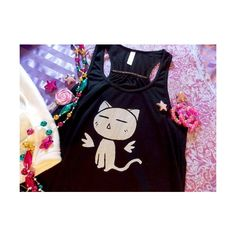 Kawaii Cat Top Cute Flowy Tank Top Pastel Goth Creepy Cute Gothic... ($32) ❤ liked on Polyvore