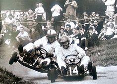 Los pilotos son como niños, siempre lo fueron. Bruce McLaren y Jack Brabham. Surbiton Town Go-Kart Club. 1959 #F1