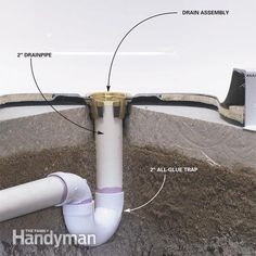 How to Install a Fiberglass Base Over Concrete: Plumb the drain using a special leak-proof drain assembly Read more: http://www.familyhandyman.com/bathroom/shower-installation/how-to-install-a-fiberglass-base-over-concrete/view-all