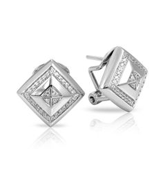 Czarina Collection; Silver Earrings; White stones set into rhodium-plated, nickel allergy-free, 925 sterling silver.  A declaration of the royalty you are.