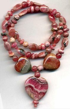 """RHODOCHROSITE Beads~Rounds, HEARTS 15-23mm Argentina 17"""" str. Genuine"""