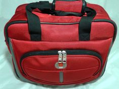"Swiss Gear 16"" Rolling Tote Carry-On Weekender Travel Bag In RED #Wenger"