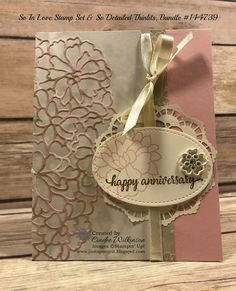 """Just Sponge It: So In Love Is the Stamp Set, So Detailed are the Thinlits, So In Love Bundle, Very Vanilla 1/4"""" Ribbon, Lace Doilies, Falling in Love Designer Series Paper, Falling in Love Embellishments, Stitched Shapes, Big Shot, Precision Base Plate, Big Shot Die Brush, DIY, Anniversary, Stampin' Up!"""