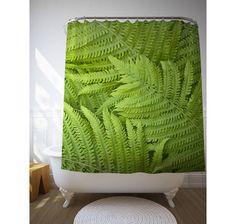 Shower Accessories, Green Fern Curtain, Nature Photography, Bath Decoration