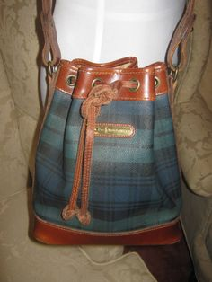 d0a1806a64bc Vintage Polo Ralph Lauren Leather Trim Draw String Shoulder Bag Retro Nice