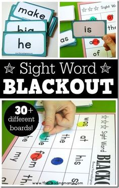 FREE! Blackout Sight Word Games - this is such a fun, educational game for PreK, Kindergarten, and 1st grade kids (homeschool language arts)