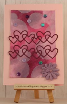 valentine's day card, linked hearts wise die from Paper Smooches, sequins, paper flower, watercolor, bokeh