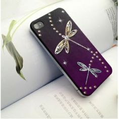 Want this, my dark plum wedding color and dragonflies...lose some bling thou..dragonfly phone case