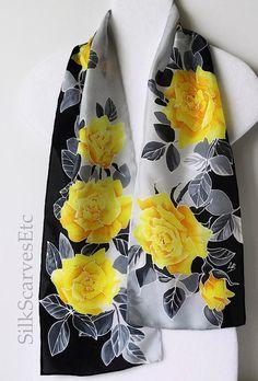 Yellow gray black silk scarf. Hand painted by SilkScarvesEtc