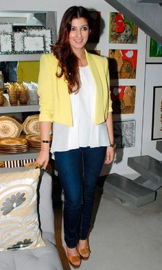 Twinkle Khanna Brightens It Up In This Canary Yellow Jacket Over Denims