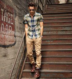 checked shirt, brown chino, bordeaux leather / men fashion