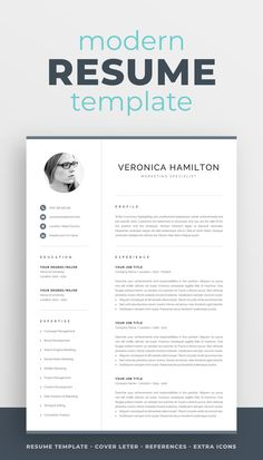 The modern resume template Veronica is designed to showcase your skills and experience in a professional and effective way. The layout is optimized for building a resume that is informative, visually attractive and easy to navigate. Includes resume, cover letter and references templates, extra social media and contact icons, and a detailed user guide. #resume #resumetemplate #resumedesign #cv #cvtemplate #cvdesign #job #jobsearch #career #careeradvice One Page Resume Template, Modern Resume Template, Resume Templates, Templates Free, Cover Letter For Resume, Cover Letter Template, Cover Letters, Cv Design, Resume Design